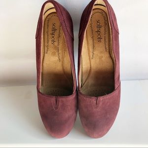 Softspots Suede Slip On Wedge Size 9.5 W Maroon